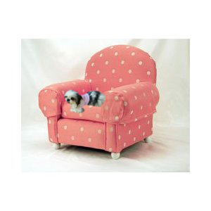 Pet Dog Chair with Pink and White Polka Dots